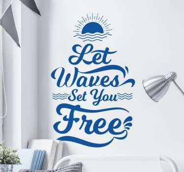 "Sticker surf ""Let the waves"""