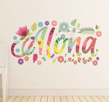 Hawaii Aloha Wall Sticker - The text sticker is in a colourful flower font surrounded by flowers and leaves. This exotic flower sticker can transform a plain and boring wall in minutes!