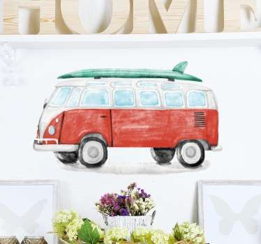 Watercolour VW Surf Van Sticker