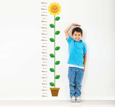 Wall Sticker that measures child's wall height with yellow flower. Child friendly and great addition to any household.