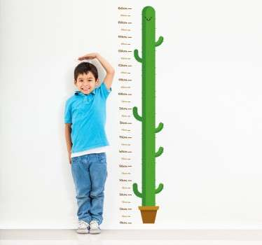 Wall Sticker that measures child's wall height with green cactus. Child friendly and great addition to any household.