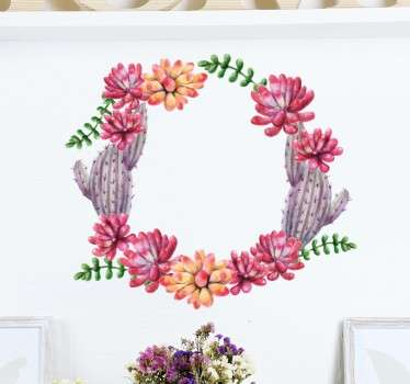 A circle wall sticker made of flowers and cactus beautifully designed. A great touch to any wall or flat surface.