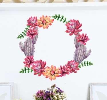 Vinil decorativo coroa cactus flores