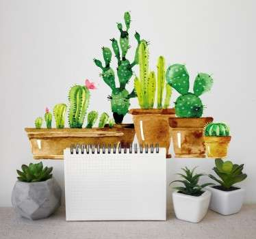 선인장과 녹색 식물 컬렉션 벽 스티커
