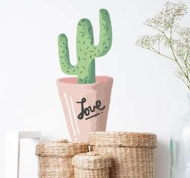Cactus Pot Love Wall Sticker