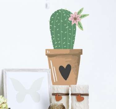 A plant wall sticker showing a cactus in a love heart plant pot. The cactus plant decal is suitable for any room in your home! Not only will this cactus sticker decorate your house but it will also create a peaceful and calm atmosphere