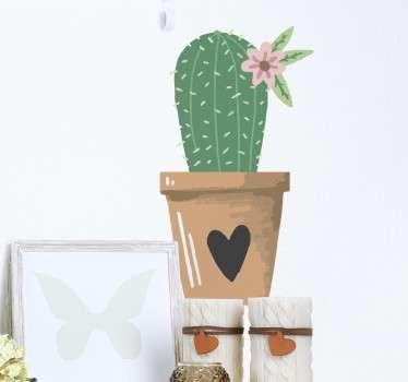 Vinilo decorativo cactus maceta corazón