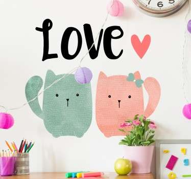 "Cat wall stickers - decorative pet sticker featuring two cute cats with the word ""love"" written above them. Perfect design for our cat lovers out there!"
