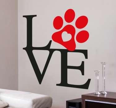 Naklejka Love z łapą psa
