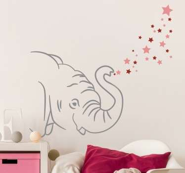 Cute elephant blowing pink stars from it's trunk wall sticker. Discounts available now. High quality vinyl material used.