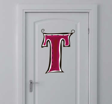 Decorative sticker of the letter T. Does your child´s name start with T?  A brilliant decal to decorate your child´s room