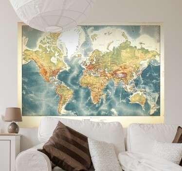 Muursticker Realistische Wereldkaart