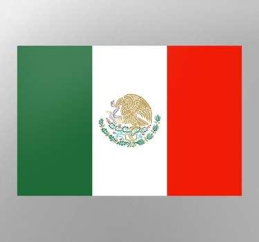 Pegatinas de banderas, en este caso con el emblema nacional de los Estados Unidos Mexicanos.