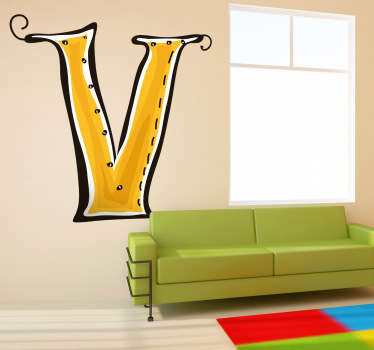 Decorative sticker of the letter V. Does your child´s name start with V?  A brilliant decal to decorate your child´s room.