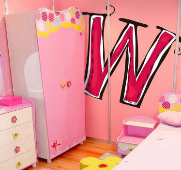 Decorative sticker of the letter W. Does your child´s name start with W?  A brilliant decal to decorate your child´s room.