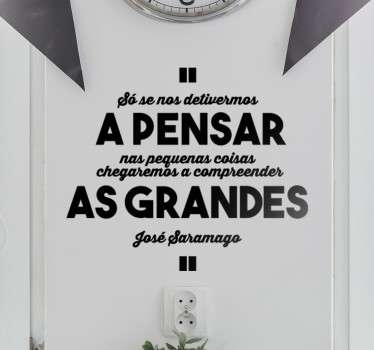 Vinil decorativo citação José Saramago