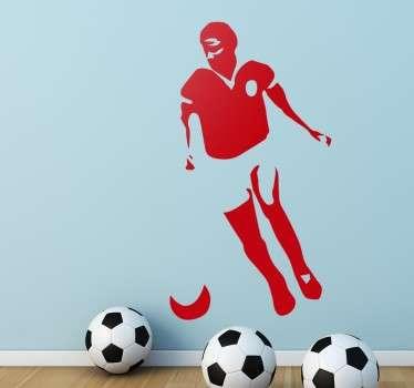 Vinilos de fútbol personalizados que incluye la silueta del famoso jugador portugués Eusebio preparado para rematar el balón de fútbol