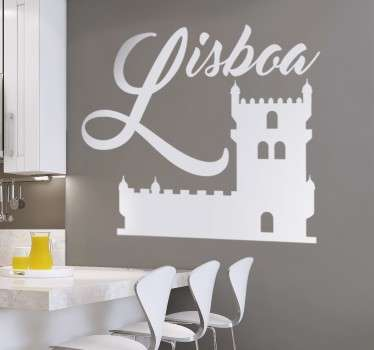 Lisbon city monument wall sticker to decorate any space of choice. It is self adhesive and easy to apply. Buy it in any required size.