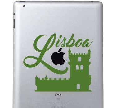 Lisbon city monument laptop sticker to decorate any laptop of choice. It is easy to apply and self adhesive. Available in any size required.