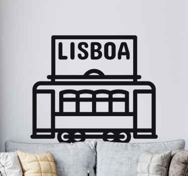 A beautiful drawing  Lisbon train wall sticker to decorate any flat surface of choice. It is self adhesive and easy to apply.