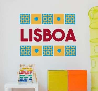 Stickers décoratifs Lisbonne avec une illustration colorée dans laquelle apparaissent les tuiles locales typiques.
