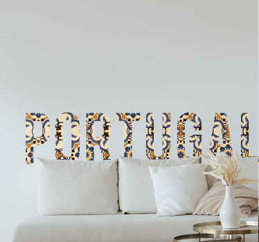 Decorative home wall sticker made with text inscription of Portugal. An amazing decoration for any flat surface. It is easy to apply and durable.