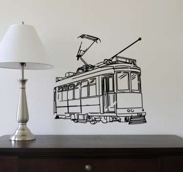 If you're looking to give a retro feel to your home, look no further than this vintage style tram design decorative wall sticker!