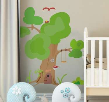 Murales infantiles pared con una original ilustración de un árbol casa, donde habitan pequeños duendes.