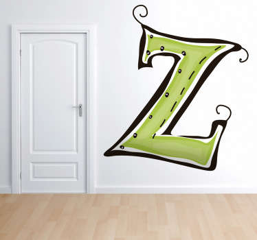 Decorative sticker of the letter Z. Does your child´s name start with Z?  A brilliant decal to decorate your child´s room.