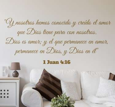 Vinilos decorativos religiosos para la decoración del hogar con un extracto del evangelio de Juan.