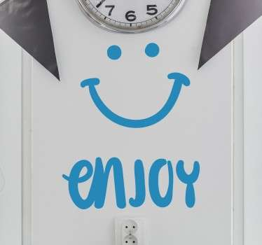 "This fun and versatile smile wall sticker features the text ""enjoy"" alongside a smiley face and is the perfect sticker for brightening up the walls of your kitchen or restaurant!"
