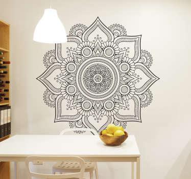 Květinová mandala dekorativní nástěnná samolepka
