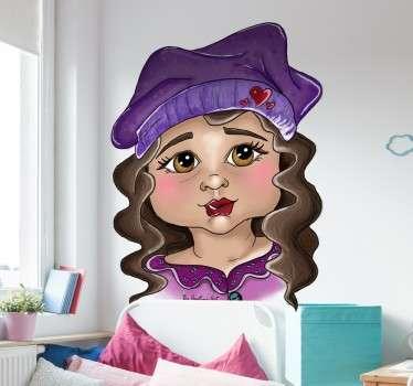 Muursticker Meisje met een paars mutsje. Dit schattige in het paars geklede meisje is een aanwinst voor op elke muur in de kinderkamer.
