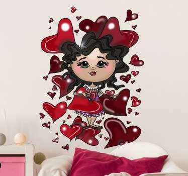 Cartoon Girl with Love Hearts Wall Sticker