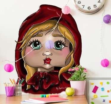 Pegatina infantil retrato Caperucita