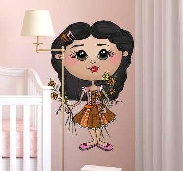 Adesivo bambina con mazzo di fiori
