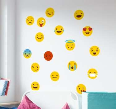 Looking for the perfect way to brighten up a dull wall? Are all your messages more emoji than letters? Look no further than these decorative wall stickers showing various different emojis from the messaging application Whatsapp!