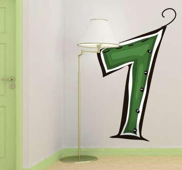 緑色の番号1の装飾的なステッカー。あなたの子供の部屋を飾るように設定された当社のナンバーウォールステッカーからの創造的なデカールは、それを際立たせます。
