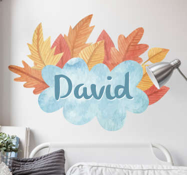 This seasonal design features the name of your choice surrounded by golden orange autumn leaves. Ideal for hallways, living rooms and bedrooms