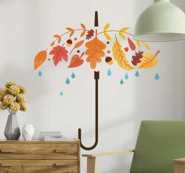 The wall sticker consists of an umbrella made from autumn leaves; under the umbrella are some rain drops. This sticker is decorated in autumn colours and gives your home a playful and modern ambiance.