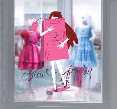 Little Girl Shopping Black Friday Window Sticker