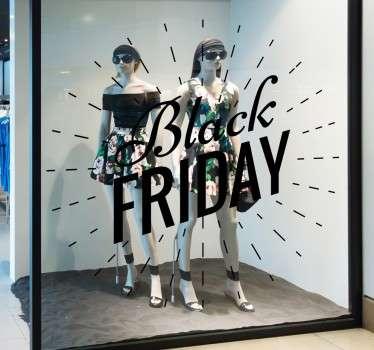 Schaufensteraufkleber Black Friday Strahlen