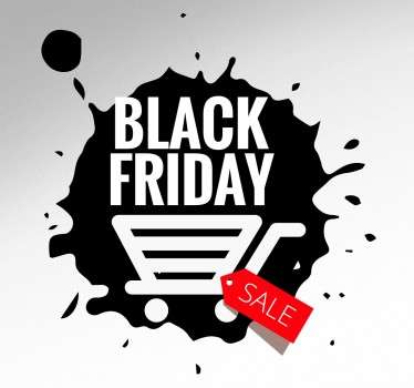 The wall sticker consists of a black paint patch with the lettering Black Friday and a shopping cart, next to it is a price tag with the label Sale