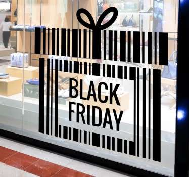 The window sticker consists of the word 'black Friday', surrounded by the shape of a present with a bow on top.