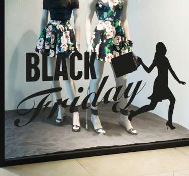 Muursticker Black Friday met een shopper, niets zegt shoppen of Black Friday als iemand mid shopping spree.