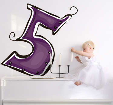 Decorative sticker of number 5 in purple. Original decal from our exclusive collection of number wall stickers.
