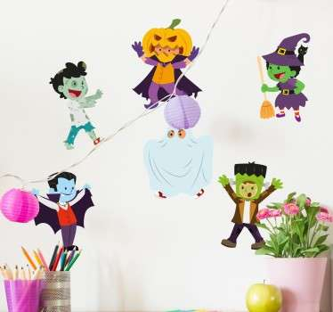 Get ready for Halloween this year with our range of our spooky stickers. This wall sticker consists of baby versions of scary monsters