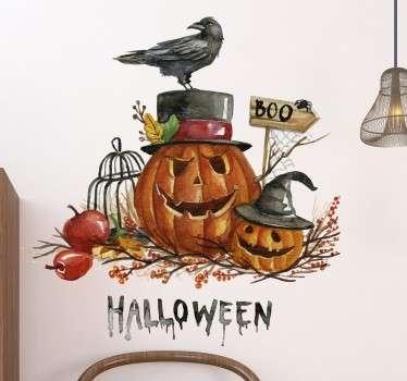 Wandtattoo Halloween Kürbis mit Rabe