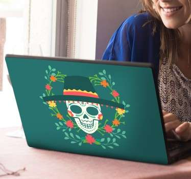 If you're looking for a fun and unique way to decorate your computer, look no further than this Day of The Dead Mexican laptop sticker!
