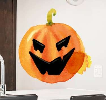 Pegatina calabaza halloween acuarela